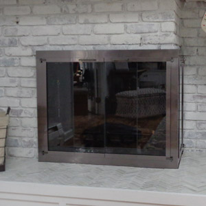 Corner Fireplace Doors in Gun Metal After