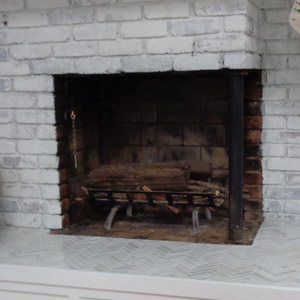 Corner Fireplace Doors in Gun Metal Before