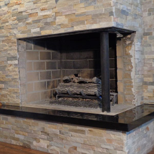 Corner Fireplace Doors in Oil Rub Bronze Before