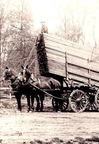 Horse drawn McIlvain lumber cart