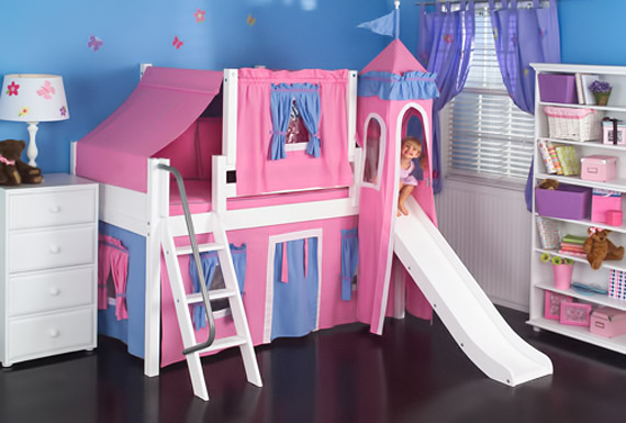 girls pink and blue princess palace bed by maxtrix