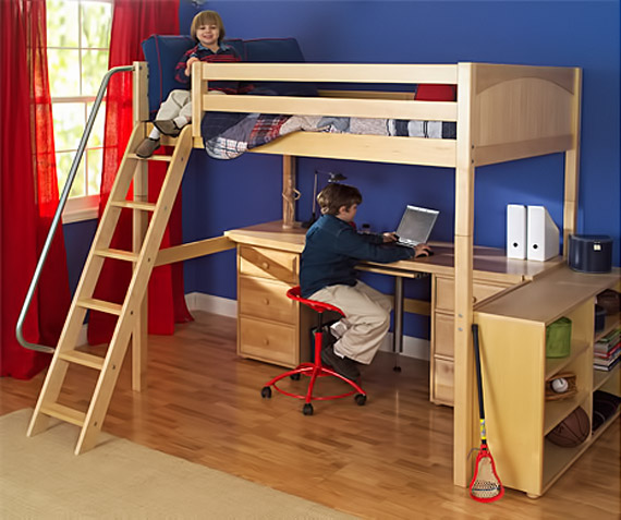 boys maxtrix high loft desk bookshelf sloped ladder