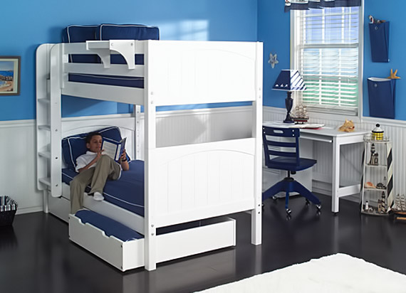 boys white bunk bed with underbed storage by Maxtrix