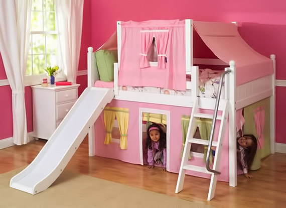 girls tent loft bed with slide sloped ladder
