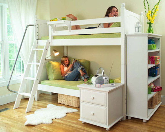 girls white maxtrix bunk bed