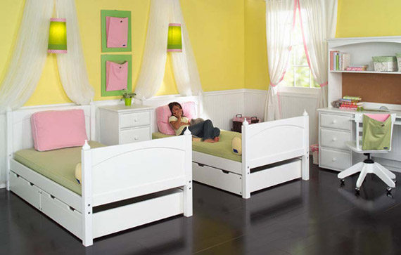 maxtrix girls bedroom two twin beds underbed storage and desk