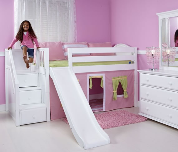 low loft maxtrix bed with slide tent and drawer stairs
