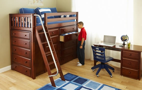 maxtrix storage loft bed with dressers shelves