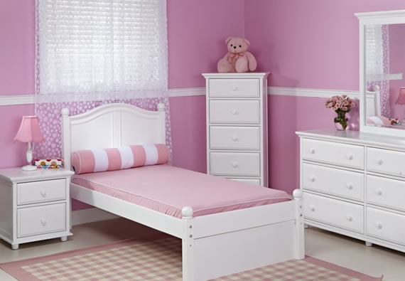 white and pink maxtrix bedroom for girls