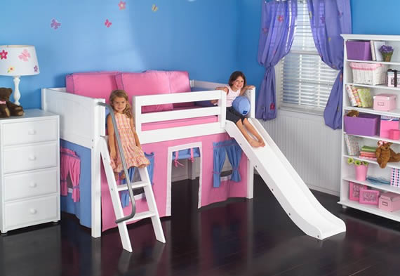 white wood low loft bed with playhouse and slide maxtrix