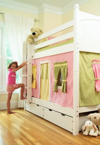 young girl climbing onto maxtrix bunkbed