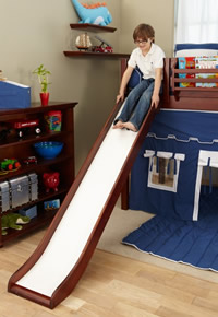 boy sliding down maxtrix loft bed