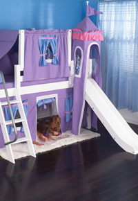 maxtrix girls princess loft bed with slide