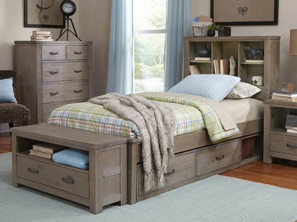Seaview Collection bookcase bed, twin in driftwood finish
