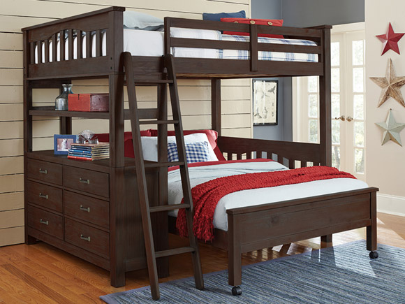 Seaview Collection loft bed, full in espresso finish