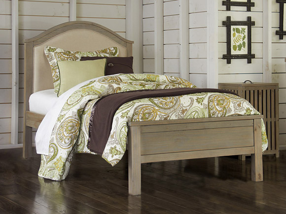 Seaview Collection upholstered bed, twin in driftwood finish