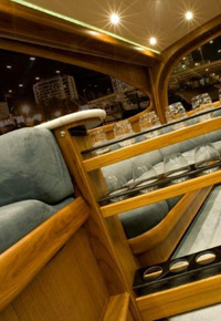 Teak hidden wine rack on yacht