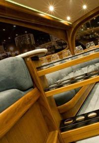 Teak hidden wine rack on yacht