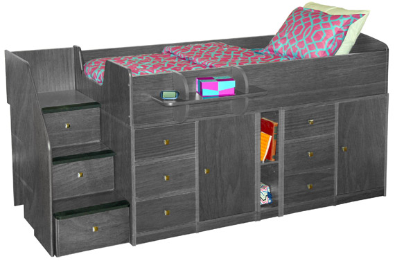 berg sierra captains bed twin double storage pewter