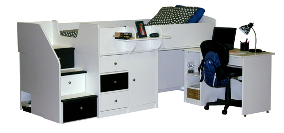 berg sierra captains bed twin with pull out desk white