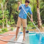 removing leaves from pool surface