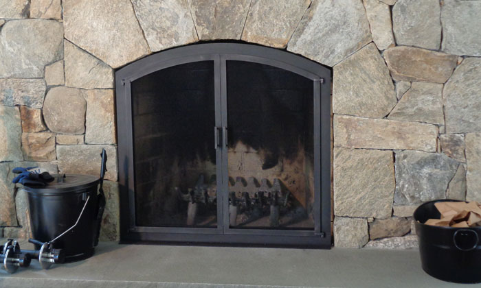 Cabinet Fireplace Door with Center Bar