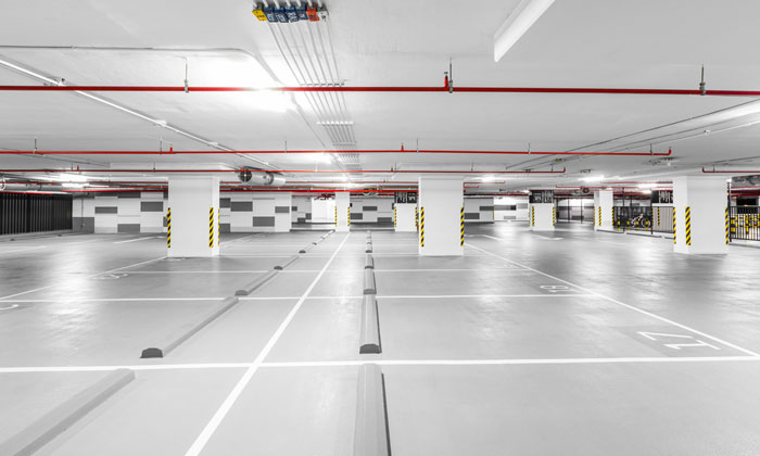 concrete flooring in parking garage
