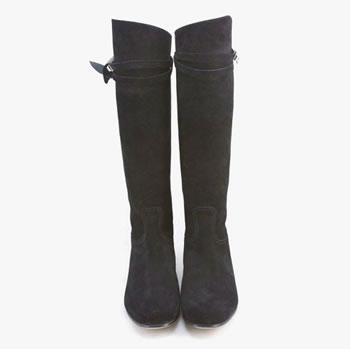 hermes black boot calf suide