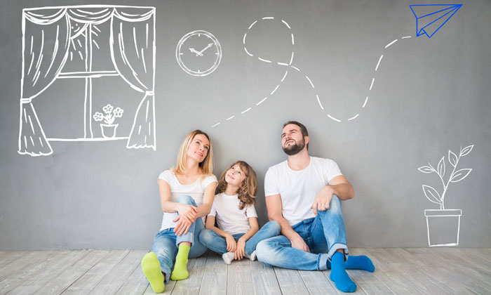 family dreaming about future home