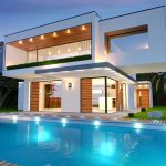 backyard inground pool and luxury contemporary home