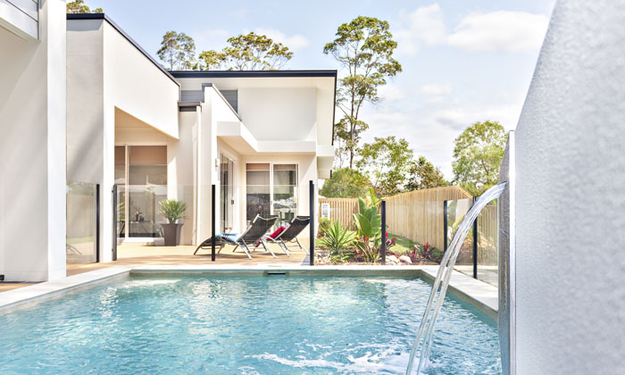luxury contemporary home with inground backyard pool