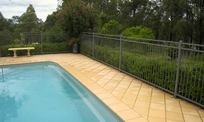 metal fencing around pool