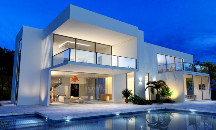 modern house with inground artistic pool