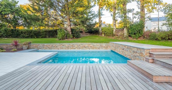 multi layer paths steps around pool